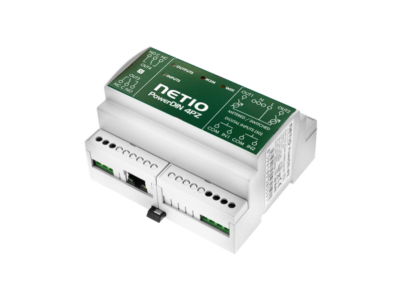 NETIO PowerDIN 4Pz smart electrometer with MQTT, Modbus, SNMP, JSON, Telnet for control and monitor