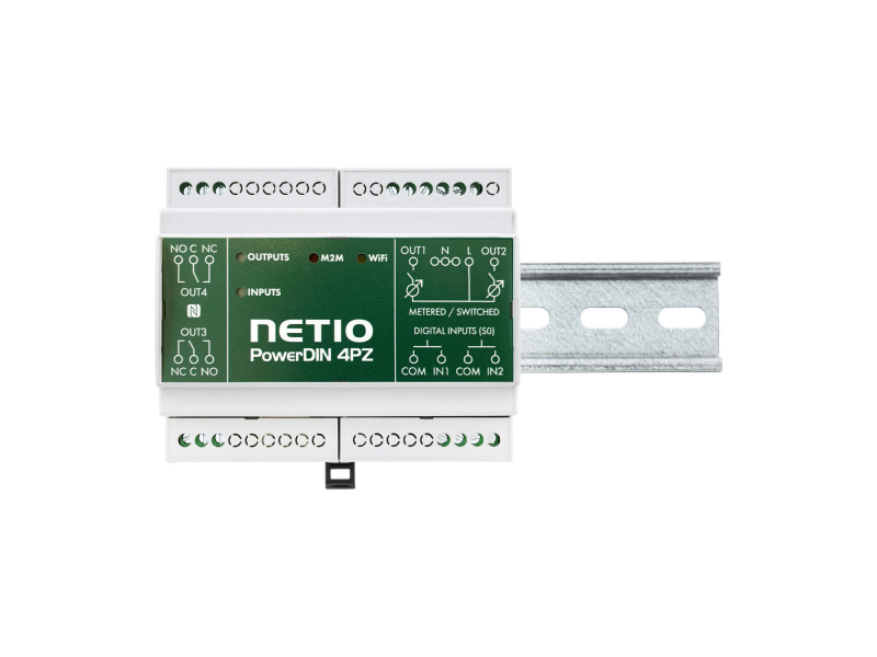 NETIO PowerDIN 4Pz smart DIN electricity meter with LAN and WiFi for 230V