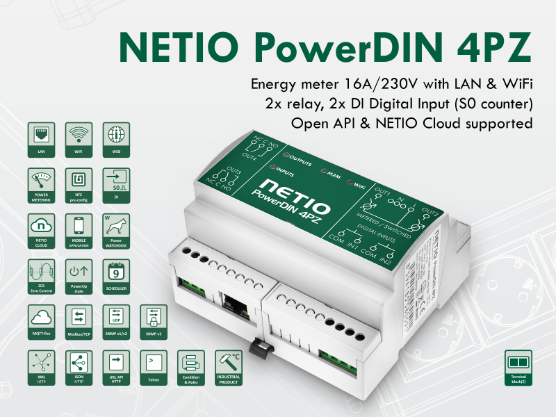 NETIO PowerDIN 4PZ smart electrometer 230V with LAN and WiFi connection