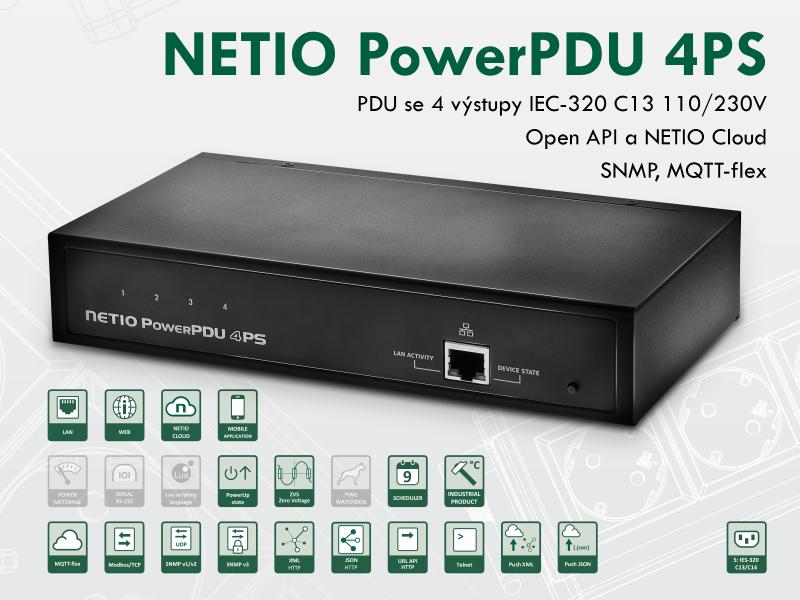 NETIO PowerPDU 4PS je chytré PDU (Power Distribution Unit) se čtyřmi výstupy napájení