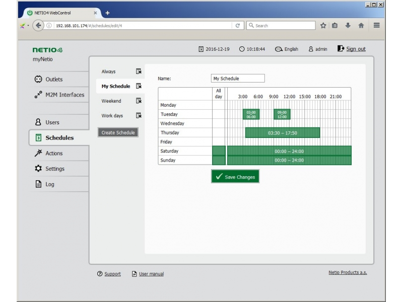 Metered PDU NETIO 4All web interface