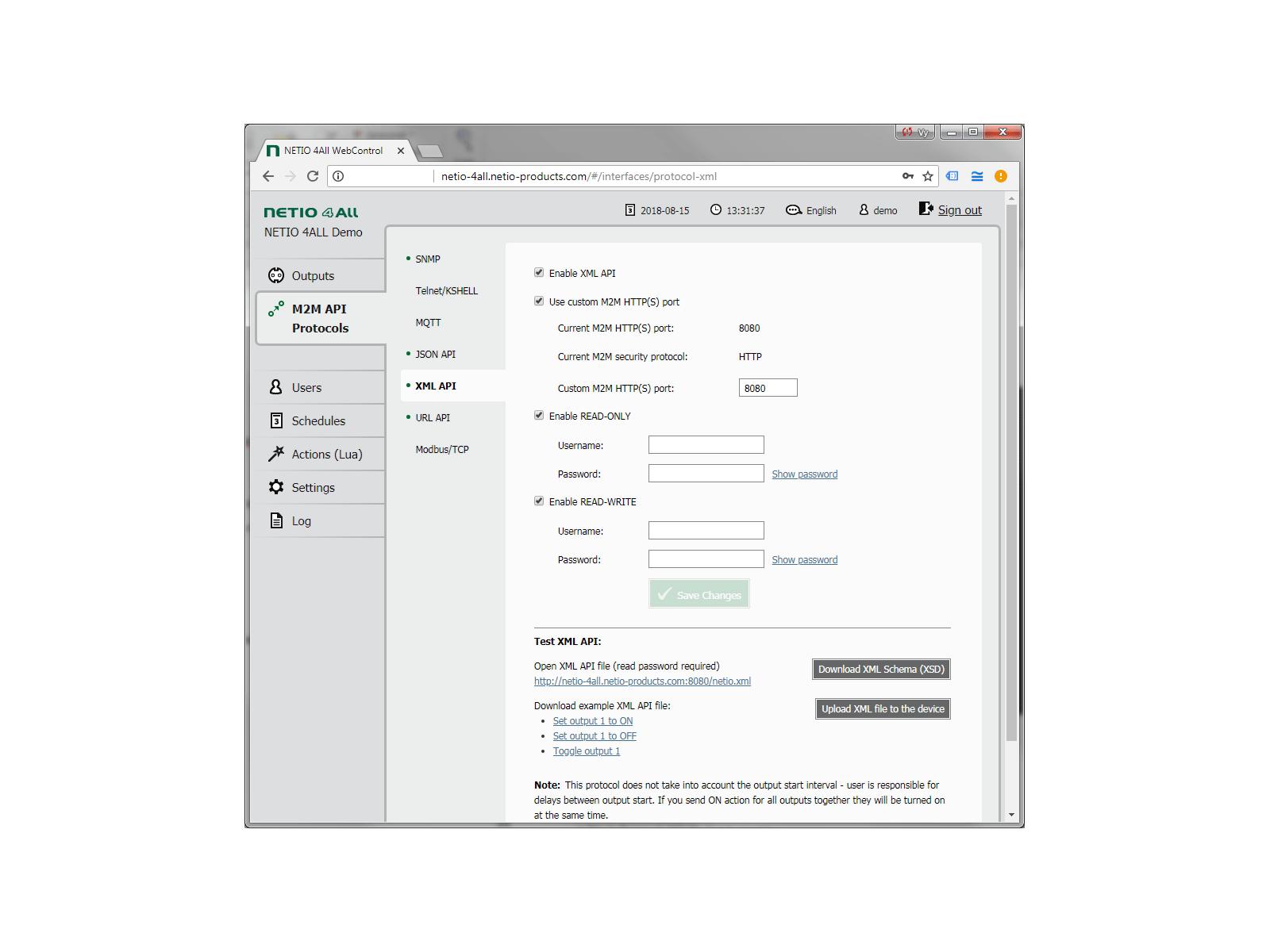 Nastavení protokolu XML http (s) M2M API v zařízení NETIO 4All. Můžete řídit každý výstup zásuvky (Zap / Vyp) odesláním nebo stažením souboru XML. Na základě protokolu HTTP je jednoduché rozšířit na zabezpečenou verzi s protokolem HTTPS.