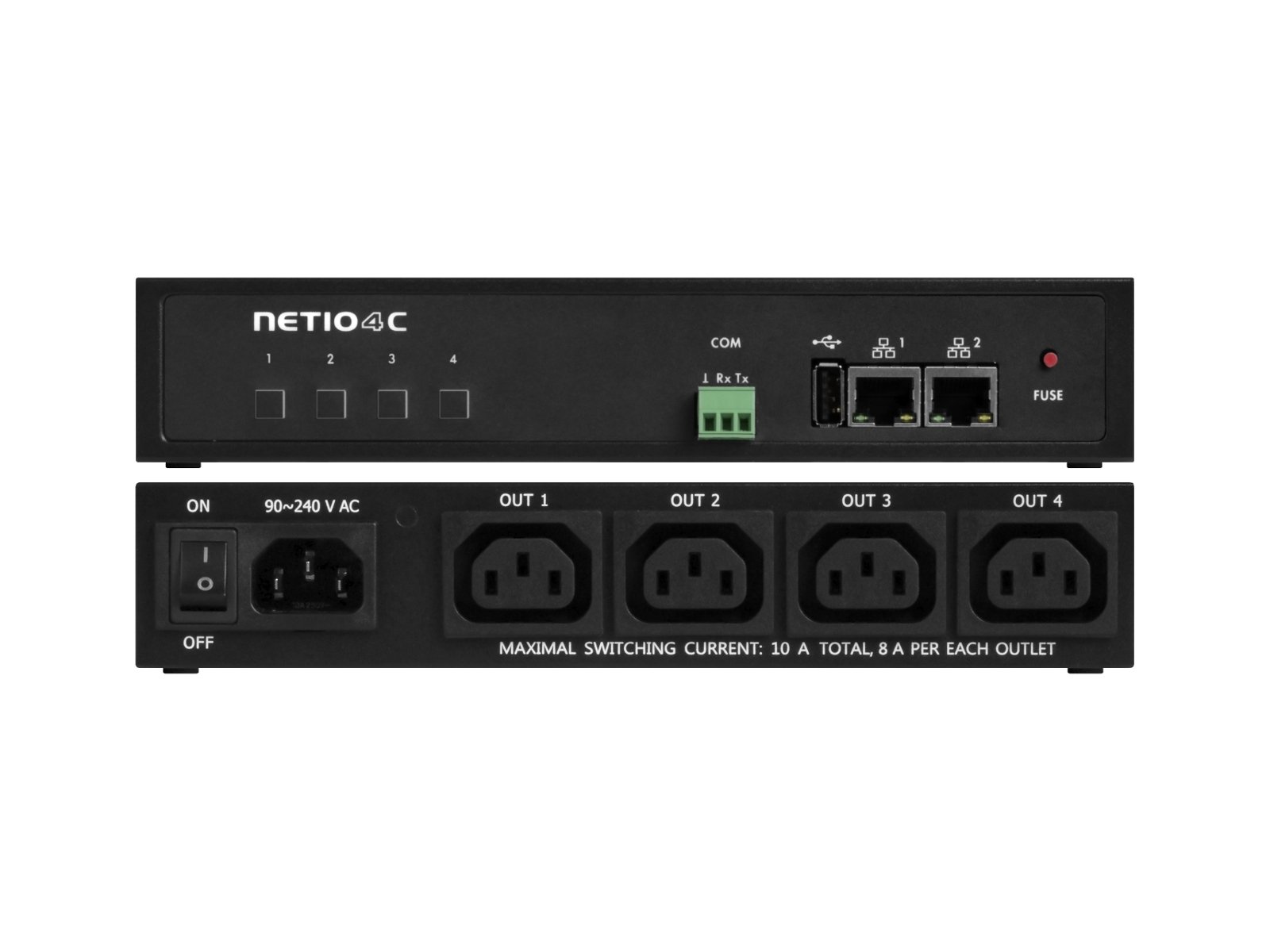 outlet, power outlet, NETIO 4C, PDU, smart PDU, power distribution unit, IEC 320 – c14, IEC 320 – C13, SNMP v3, rack pdu, web controlled power switch,