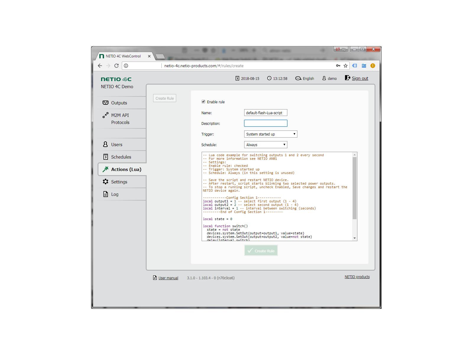 Toto je výchozí předkonfigurovaný skript NETIO 4x Lua. Další podrobnosti naleznete v AN01 a AN02 (Aplikační poznámky)