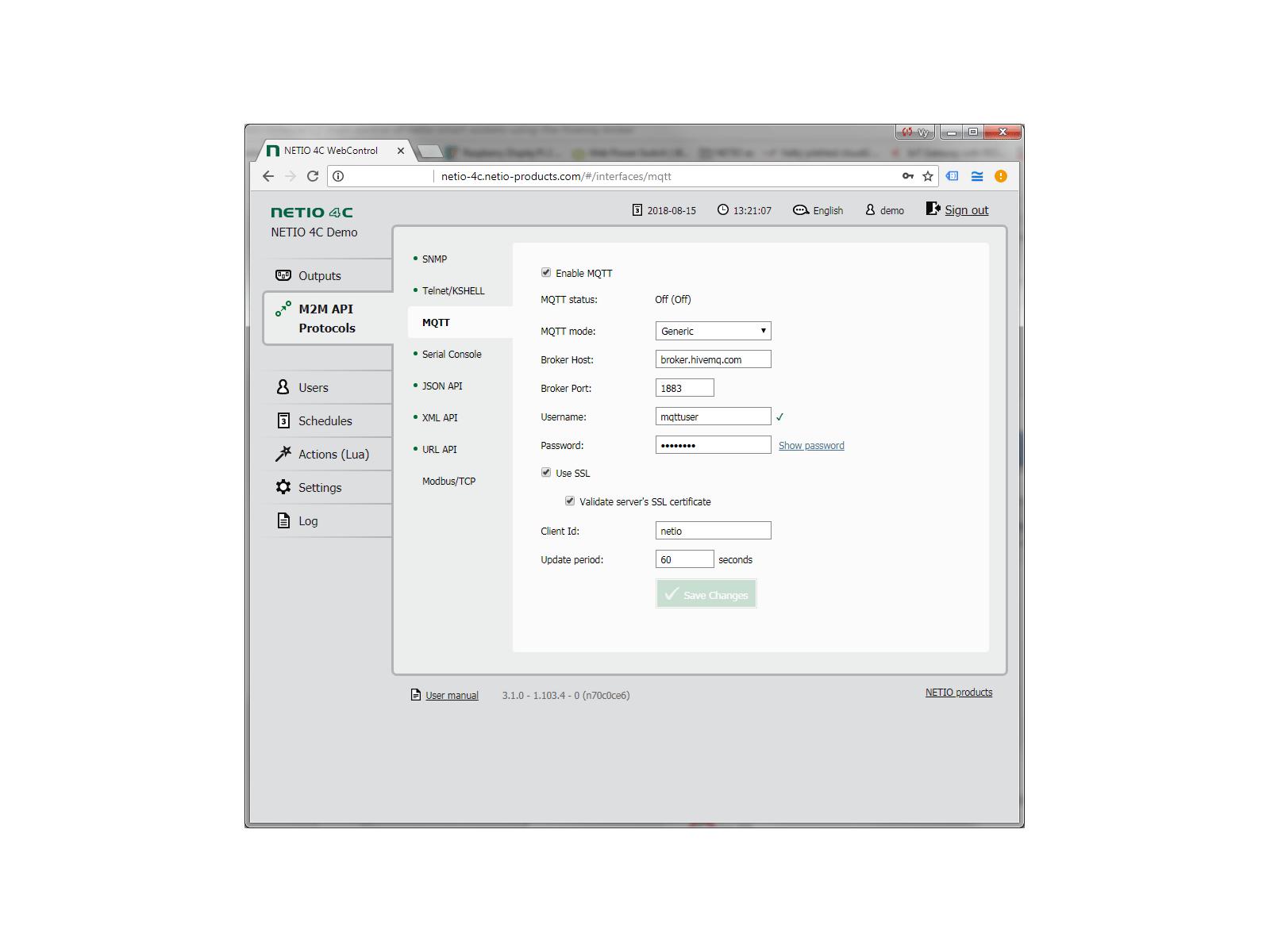 Nastavení protokolu MQTT na zařízení NETIO 4C. NETIO podporuje obecnou verzi MQTT nebo verzi pro MS Azure. S MQTT můžete zapnout / vypnout / short-off . Podrobnosti o protokolu si vyžádejte přes kontaktní formulář