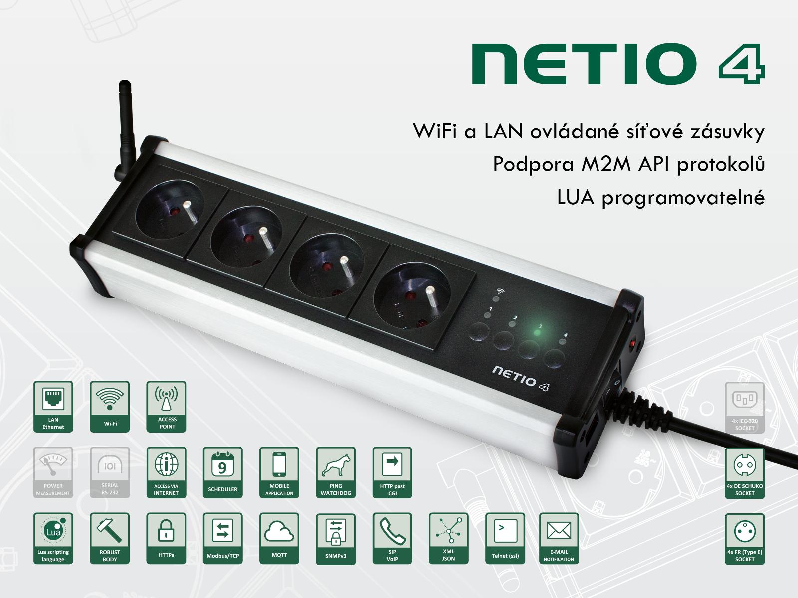 NETIO 4 – 4x230V, ovládání pomoví protokolů SNMP, Modbus/TCP, mqtt, https, http, xml, json, telnet a dalších