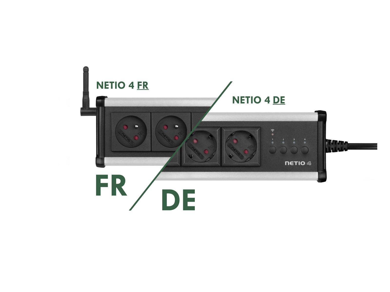 NETIO 4 dodáváme jako zásuvky 230V Typ E (FR) a ve většině Evropy rozšířené Typ F (DE schuko)
