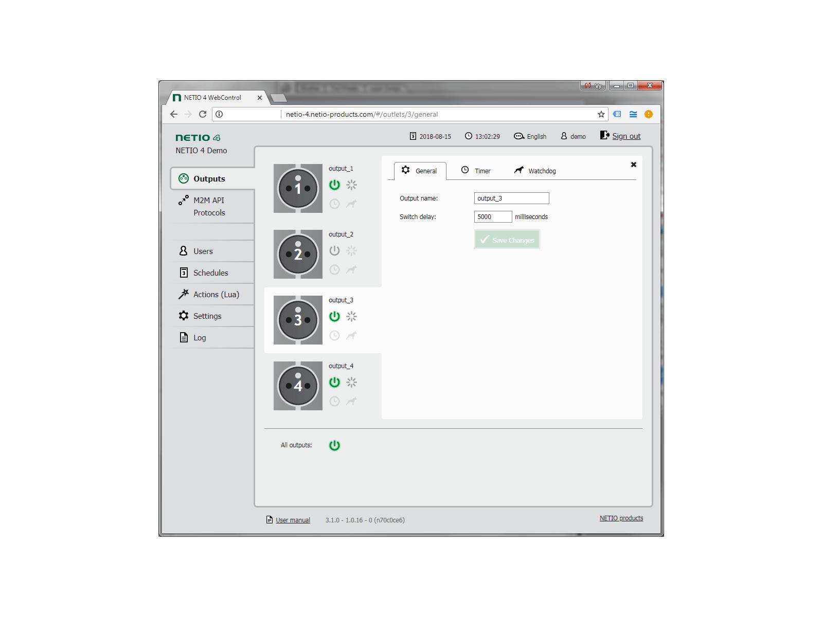 NETIO 4 má 4 výstupy. Každá zásuvka může být pojmenována a zapnutá / vypnutá, restartována (krátce vypnutá) nebo řízena funkcí WatchDog nebo funkcí Scheduler.