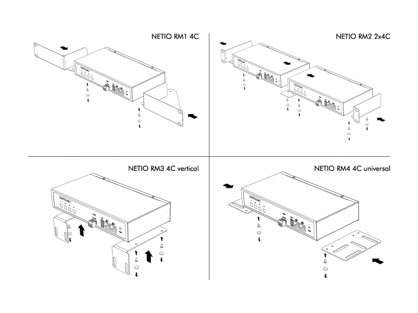 Rack Mount Kits allow you to install NETIO 4C power outlet to Rack frame