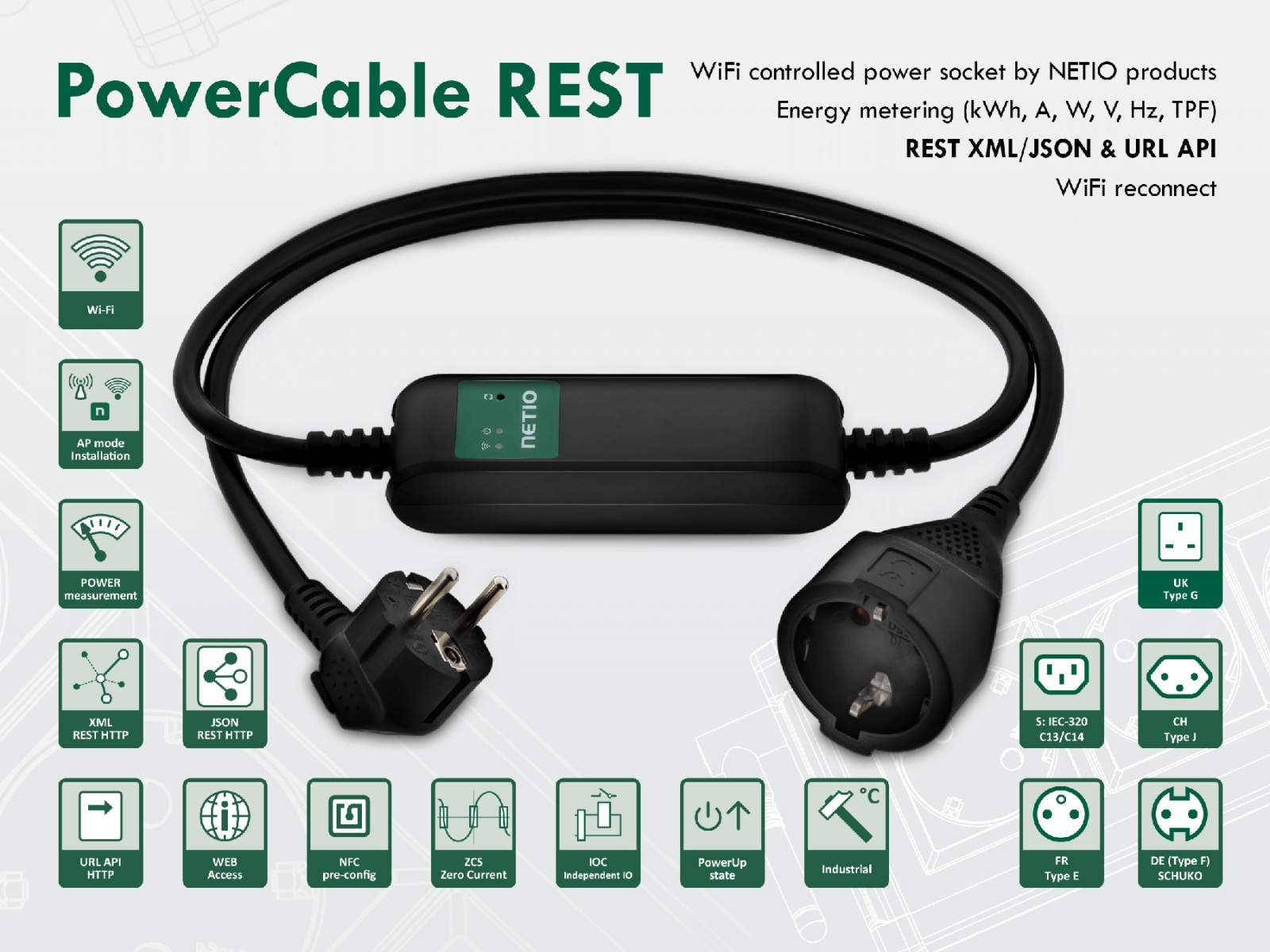 WiFi controlled PowerCable REST Type F (DE, schuko) with Open API