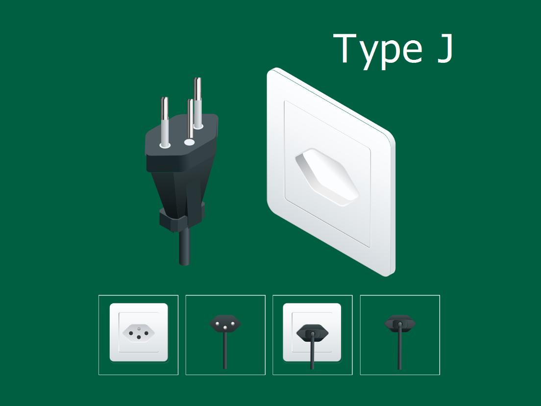 Swiss electrical power plugs Type J