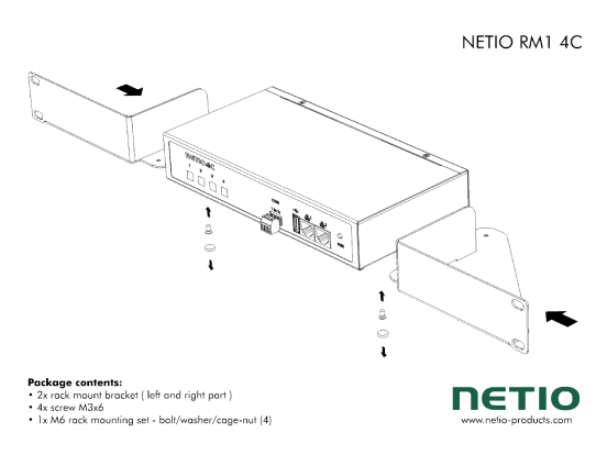 "Metal brackets to install one NETIO 4C device into a 1U space in a 19"" rack frame"