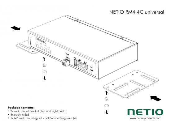 Universal metal brackets to fasten one NETIO 4C device e.g. to horizontal bars in a rack frame